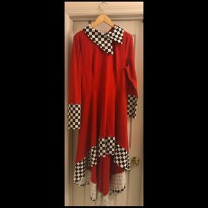 Red Flare dress with checkered print collar